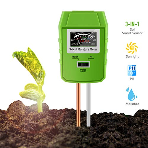 Awinro Soil Test Kit, Upgraded Smart 3-in-1 Soil Light/pH/Moisture Sensor Tester, Garden Tools, Farm, Lawn, Garden Soil pH Meter, Plant Health Care Experts (More Accurate, No Battery Need)