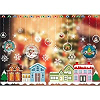 Homyu Christmas Window Decals Window Stickers for Wall Window Door Winter Wonderland Decoration(Colorful Christmas Town)