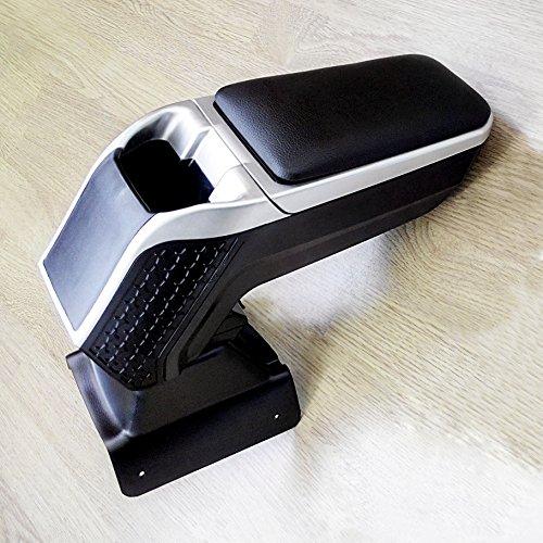 (Armrest Car Center Console Automotive Storage Box Black&Silver Sport Line Centre Arm rest Fit Mini Cooper II 2006-2013)