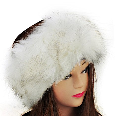 Faux Mink Fur Russian Style Winter Head-wear (One Size, White Headband)