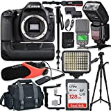 Canon EOS 80D DSLR Camera Body Only Kit with Pro Photo & Video Accessories Including 128GB Memory, Speedlight TTL Flash, Battery Grip, LED Light, Condenser Micorphone, 60 Tripod & More
