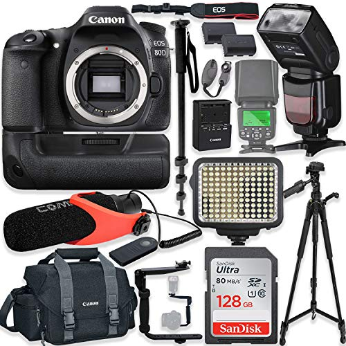 Canon EOS 80D DSLR Camera Body Only Kit with Pro Photo & Video Accessories Including 128GB Memory, Speedlight TTL Flash, Battery Grip, LED Light, Condenser Micorphone, 60″ Tripod & More