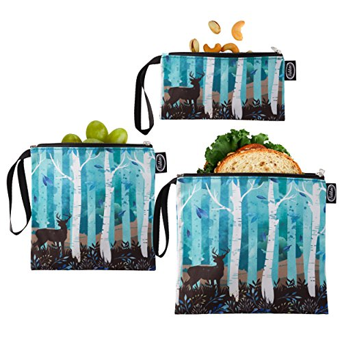 Tabkoe Reusable Snack Bags with Handles  XL, Large & Small Zippered Lunch Baggies for Sandwiches, Meal Prep & More  Resealable, Washable, Eco-Friendly, 3pc Zip Up Pouch (Birches)