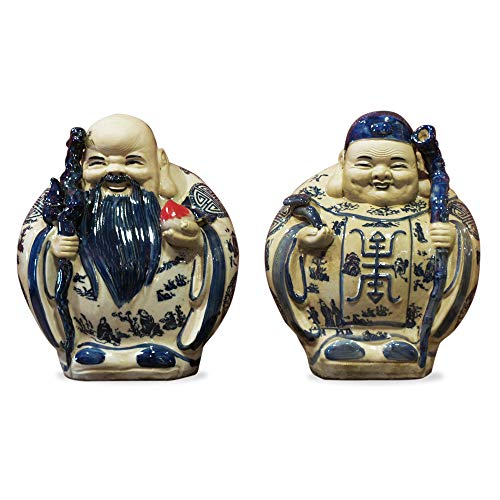 ChinaFurnitureOnline Porcelain Longevity Gods Statues, Hand Painted Male and Female Gods Sculptures in Blue and White Glaze Set of 2