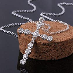 HOT Women 925 sterling Silver Rhinestone Crystal Cross Pendant Necklace