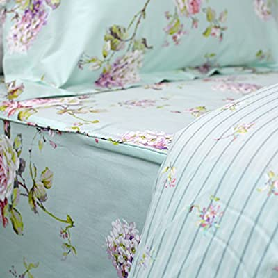 FADFAY Floral Duvet Cover Set 100% Cotton Shabby French Country Bedding Purple Hydrangea and Peony Print 3-Piece:1 Zipper Duvet Cover(No Comforter), 2 Pillowcases(Blue, Queen): Home & Kitchen
