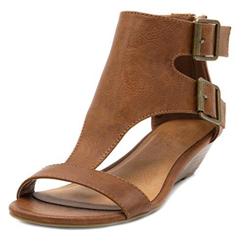 - Sugar Women's Wigout Demi Wedge Sandal 8 Burnished Cognac