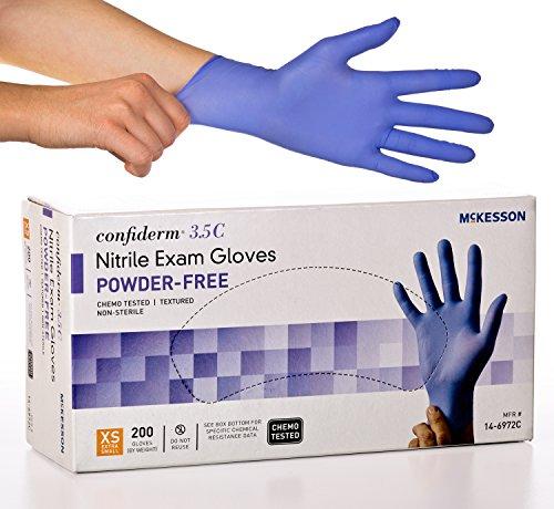 McKesson Confiderm 3.5C Nitrile Latex-Free XSM Exam Gloves, X-Small, Chemo Tested, Powder-Free, 200/BX (Best Gloves For Chemistry Lab)