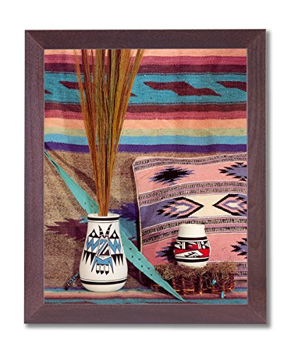 Indian Native Pottery (Framed Cherry Southwestern Native #1 American Indian Pottery Pictures Art Print)