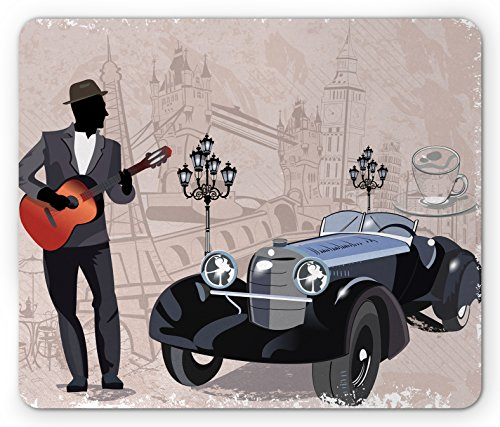 Street View Old Cars (Urban Mouse Pad by Ambesonne, London and Paris Streets with Musicians Retro Cars Cafes Old Town View Print, Standard Size Rectangle Non-Slip Rubber Mousepad, Warm Taupe Black)