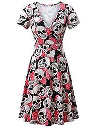 Short Sleeve Wrap V Neck Casual A Line Halloween Dress