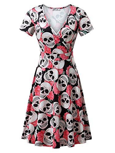 MSBASIC Print Dresses, Halloween Print for Women Plus Size (Skull, Medium)