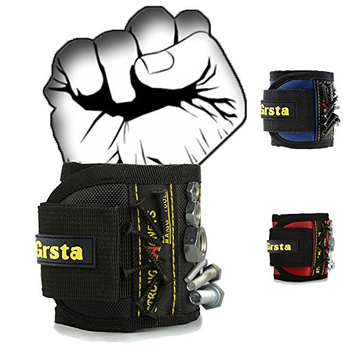 Grsta Magnetic Wristbands, With 5 Powerful Magnets magnet wristbands for Holding Tools,Screws,Nails,Bolts, Drill Bits and Small tools, nails and screws pouch (Black)