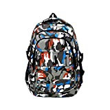 UNYU Camouflage Printed Primary School Canvas Backpack - Ideal for 1-6 Grade School Students Boys Girls Daily Use and Outdoor Activities (Camouflage blue)