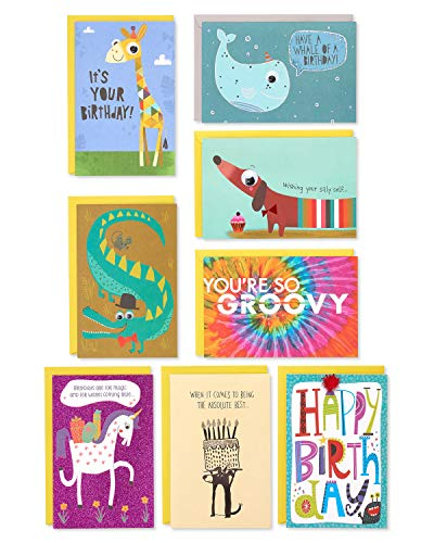 American Greetings Premium Kids Birthday Greeting Card Collection, 8-Count