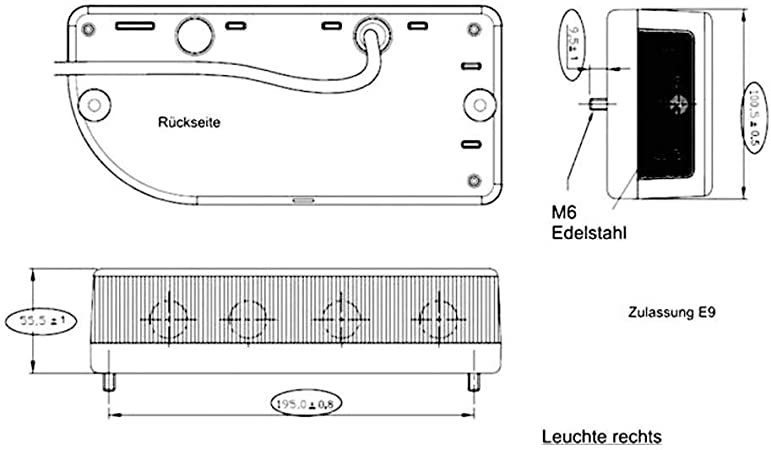 Secorüt 5 Kammern Leuchte Klarglas Links Elektronik