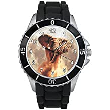 BMSC847 Elephant Animal Mens Ladies Black Jelly Silicone Band Sports Wrist Watch