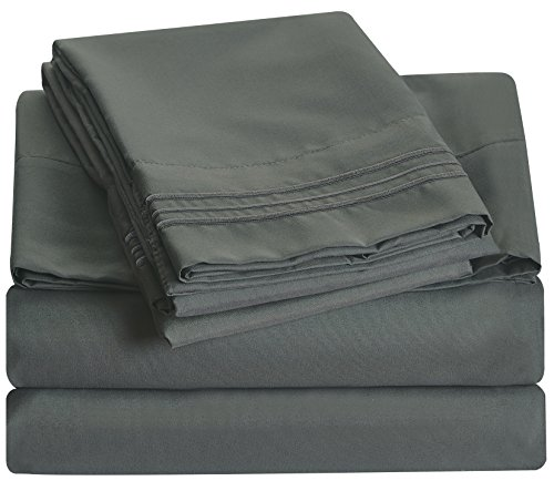 Bluedotsky Bedding - 2100 Luxury Collection - Breathable and Silky Soft - 100% Microfiber Bed Sheet Set - Hypoallergenic - Dust Mites Resistant - Extra Deep Pockets - 4 Piece - Full, Gray/Charcoal (Piece Bath 8 Sheet)