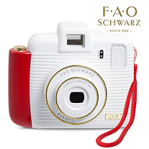 FAO Schwarz 1003434 Instant Camera with Flash and Lighting Modes, Compatible with Instant Mini Film, Instantly Prints Photos, White/ Red, Pack of 1