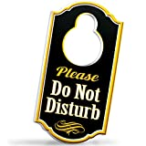 Bigtime Signs Please Do Not Disturb Door Hanger - 1/4 inch Thick Rigid PVC - 8 inch x 4 inch w/Hole for Door Knob Sign - Perfect for Home, Hotel, Office, Spa, Law Firm, Massage - Gold & Black