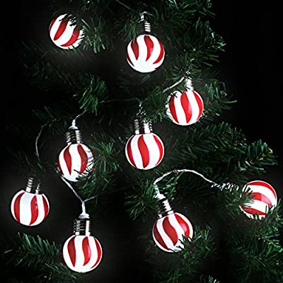 LANGRIA Red and White Stripe Globe Ball String Lights Battery Powered 20 LEDs, 7.22 FT/2.2M Long for Indoor Use, Holiday, Festival, Party Decoration