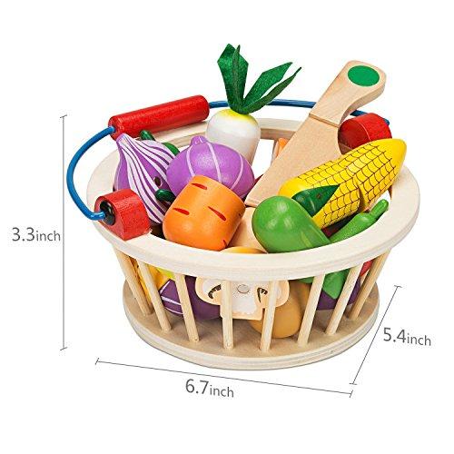 Victostar Magnetic Wooden Cutting Fruits Vegetables Food Play Toy Set with Basket for Kids (Vegetables)