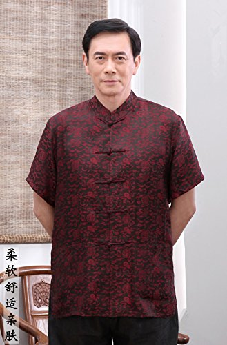 High-end Business Shirts Tang Suit Casual Shirts Chinese National Style Mulberry Silk by JIANYUAN-Tang Suit (Image #2)