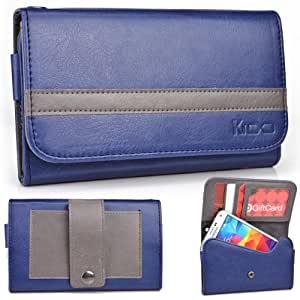 EXXIST® Graphite Series. Faux Leather Clutch / Wallet for Motorola Droid Fighter (Color: Navy Blue / Grey Stripe) -ESMLGPBD