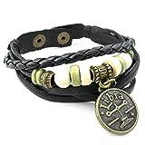 KONOV Mens Womens Leather Bracelet, Zodiac Sign Charms Beads Adjustable Bangle, Black