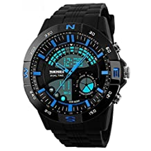 Gosasa Men's Outdoor Waterproof LED Digital Chronograph Military Sports Watches Blue