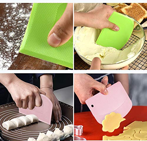 Bread Dough Plastic Bowl Scraper: 6PCS Food Safety Flexible Plastic Multi-function Kitchen Tool Bench Scraper | Practical Pizza Cutter Multipurpose Cake Chopper for Bread Dough Cake Fondant Icing