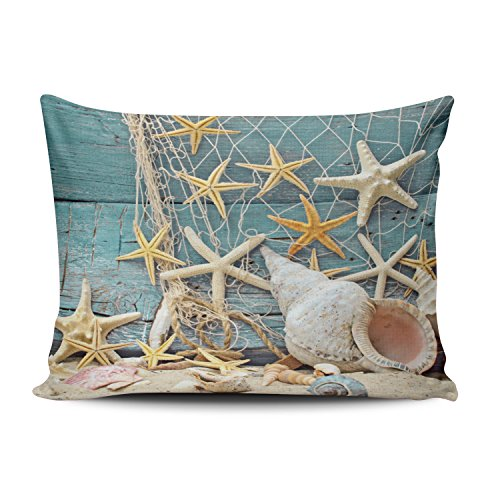 Fanaing Bedroom Custom Decor Beach Themed Conch Shell Starfish Fishing Net Pillowcase Soft Zippered Aqua Mint and Turquoise Cover Cushion Case Fashion Design One-Side Printed Boudoir 12X20 Inches