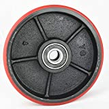 """Pallet Jack/Truck Steering Wheels Set with Axle and Protective Caps (4 pcs) 7"""" x 2"""" with Bearings ID 20mm Poly Tread Red"""