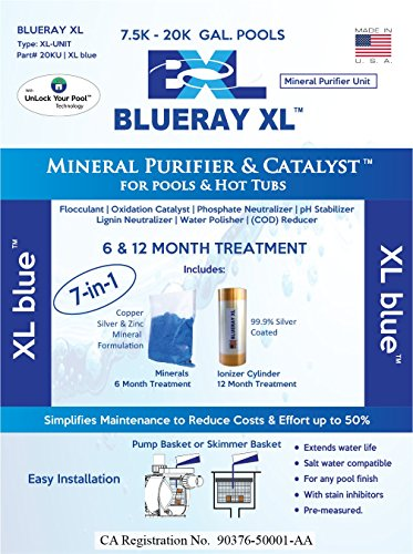 Blueray XL - XL blue   Mineral Purifier & Catalyst for Pools and Hot Tubs ... (Blue-ray-xl)
