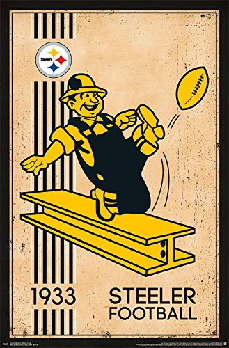 Trends International Pittsburgh Steelers Retro Logo Wall Poster 22.375