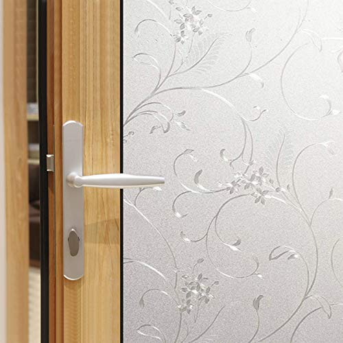 Jahoot Frosted Privacy Window Film, Glass Door Privacy Film Non-Adhesive Window Clings for Home Office Decoration, Anti-UV, Heat Control and Prevent Bird Strikes (Wheat, 17.7x78.7 Inch)