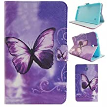 Galaxy Tab 4 8.0 T335 Elegant Style Book Case, UUcovers Hybrid [Kickstand] Stable Cover with [Auto Sleep/Wake] [Card Slots] [Shockproof] Shell for Samsung Galaxy Tab 4 8.0 SM-T337 (Purple Butterfly)