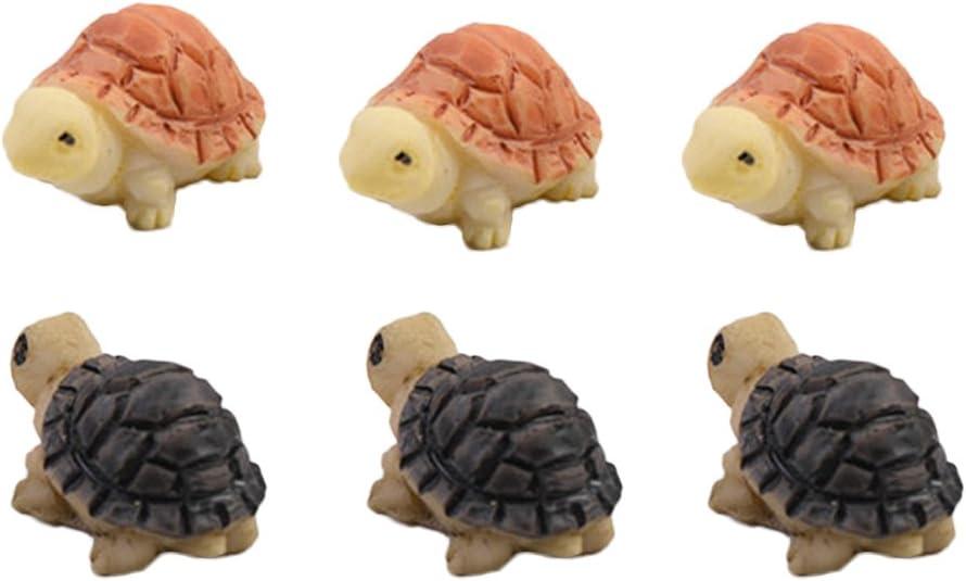 COOLTOP 3 Pair 6pcs Mini Turtle Fairy Garden Miniature Dollhouse DIY Plant Pots Bonsai Craft Micro Landscape DIY Decor
