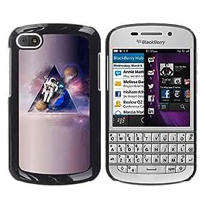 Hombre en la luna - Metal de aluminio y de plástico duro Caja del teléfono - Negro - BlackBerry Q10