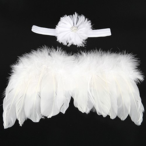 Baby Angel Wings and Hair Band Photo Prop Costume Poster Gift for Kids Baby Party Decoration,White by MS.CLEO