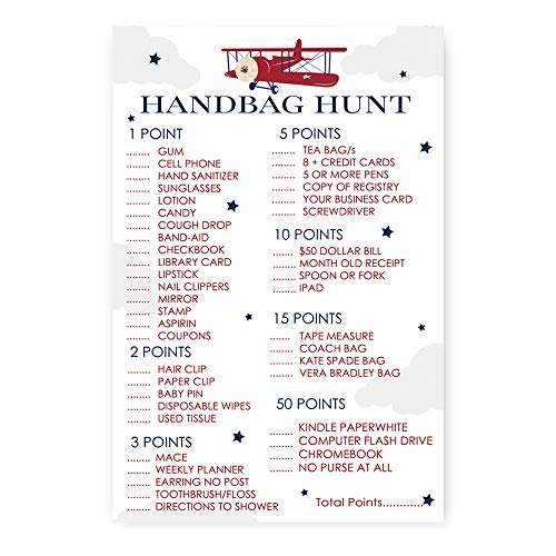 (Airplane What's In Your Purse Baby Shower Game (Set of 25) Handbag Hunt Activity Cards)