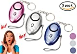 Safe Sound Personal Alarm Keychain With LED Flashlight Emergency Alarms Portable Safety and Self Defense for Women, Elderly, Kids, Students 2 Pack (Mixed Colors-3 Pack)