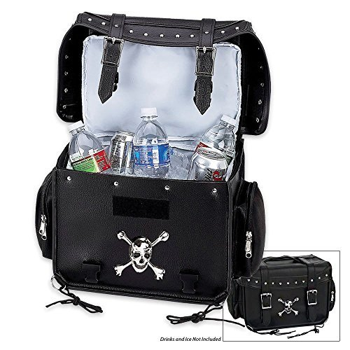Diamond Plate Motorcycle Trunk/Cooler Bag with Skull Medallion