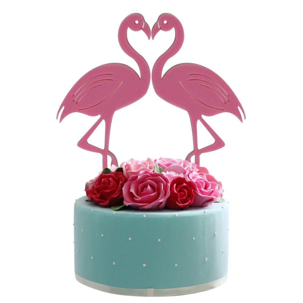 Amazon.com: Havenport Flamingos Cake Topper, 2 pcs Kawaii Flamingos ...
