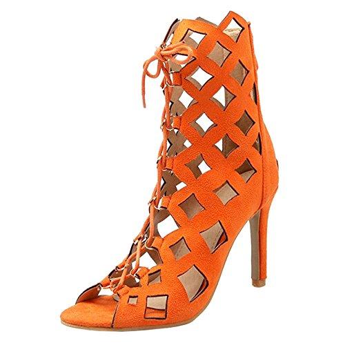 Coolcept Peep Talons Hauts Gladiateur Toe Orange Escarpins Femmes Sandales PPq5gw4rA