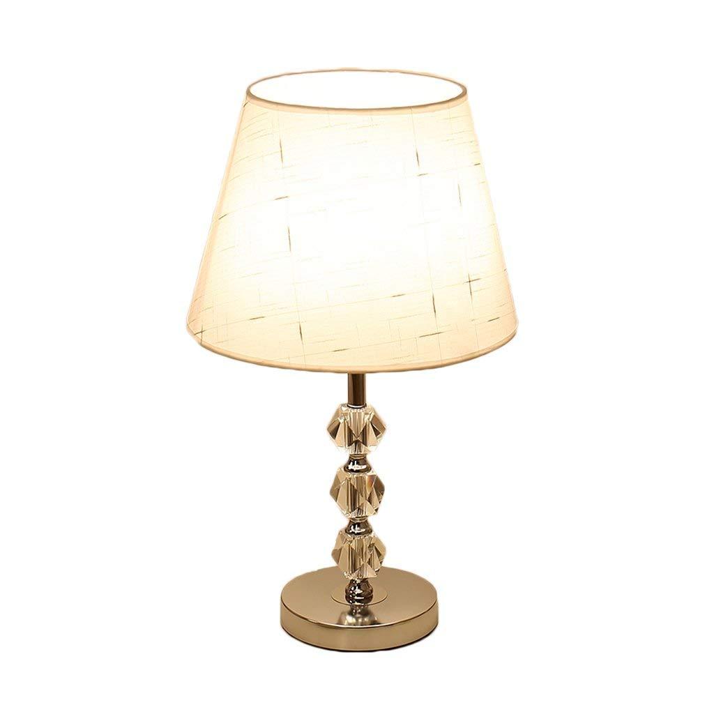 Moderne E27 Kristall Tischlampe Wohnzimmer Schlafzimmer Studie Hotel Art Deco Beleuchtung, Stoffschirm, Überzugsbasis