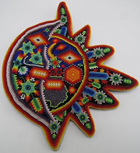 Huichol Mask (HUICHOL BEADED SUN/MOON MASK from Jalisco, México, 6,700+ Chaquiras Certificate of Authentication from UMAC (Orange))