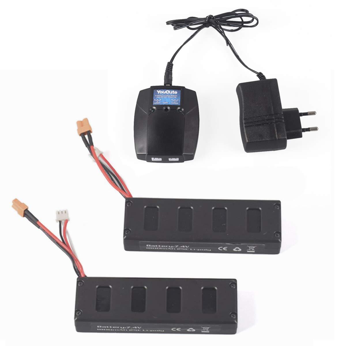 YouCute Batería de baterías de 1800 mAh. (2PCS Baterias + Cargador ...