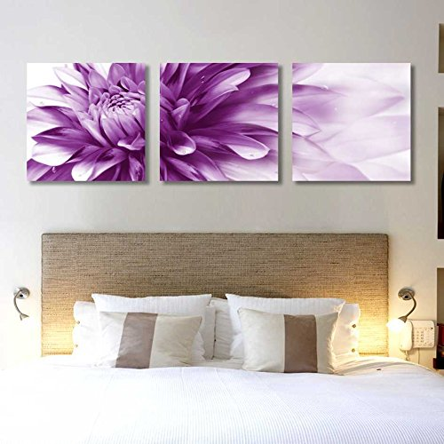Spirit Up Art HD Giclee Art Print on Canvas Purple Bursting Chrysanthemum Buds set of 3 Modern Home Wall Painting Decor Art Each 50*50cm #07-JDXX-24