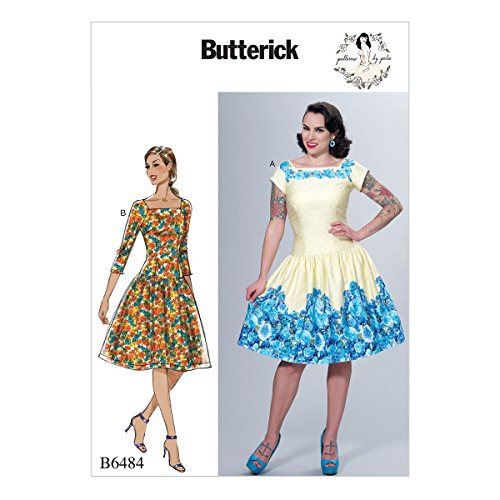 Butterick Patterns B6484 E5 Misses' Square-Neck, Dropped-Waist Dresses and Petticoat Ruffle by Gertie, Size 14-22 6484 (Pattern Squares Retro)